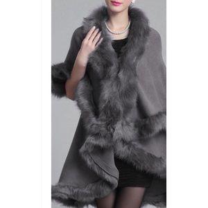 Luxurious Winter Gray Faux Fur Double Layer CAPE
